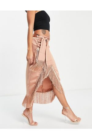 Rare Fashion London coordinating wrap midi skirt with fringe in camel-Neutral