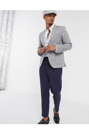 Shelby & Sons Slim suit jacket in and blue plaid-Grey
