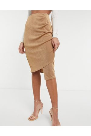 Closet Gathered wrap midi skirt in camel-Neutral