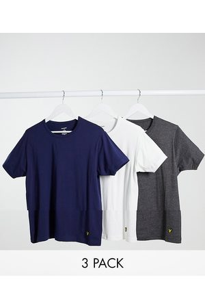 Lyle & Scott 3 pack crew lounge tshirts in white charcoal and navy-Multi