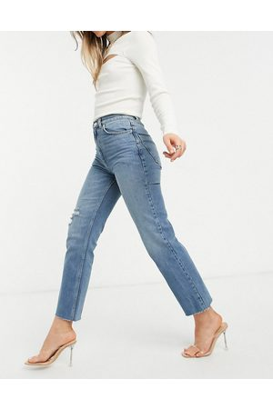 ASOS High rise stretch 'effortless' crop kick flare jeans in midwash with thigh rip-Blues