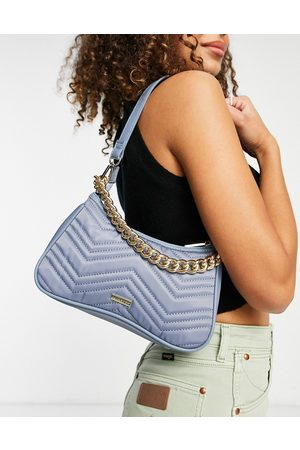 Skinnydip Quilted nylon shoulder bag in pastel blue with chain-Blues