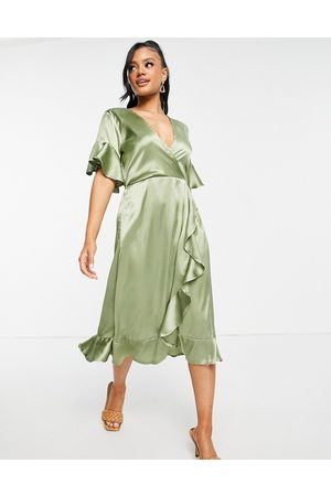 Ax Paris Bridesmaid ruffle midi dress in sage