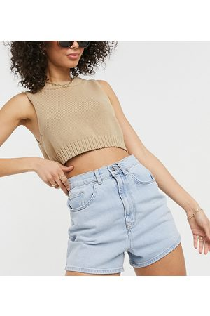 ASOS ASOS DESIGN Tall denim high rise 80s mom shorts in light wash-Blues