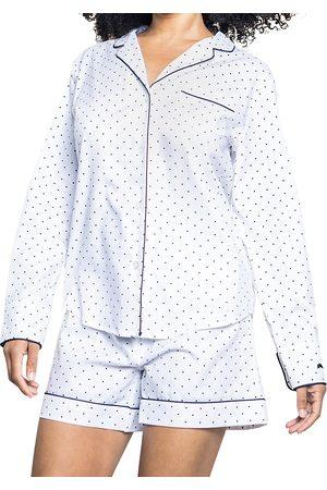 Petite Plume Pin Dots Cotton Pajama Shorts Set