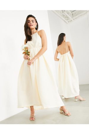 ASOS Clementine halter wedding dress with pleat detail and low back