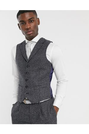 ASOS Slim suit waistcoast in blue and grey 100% lambswool tweed