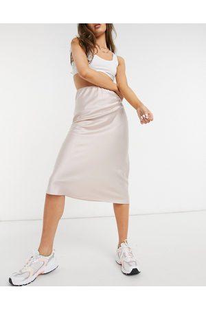 ASOS Satin bias slip midi skirt in blush
