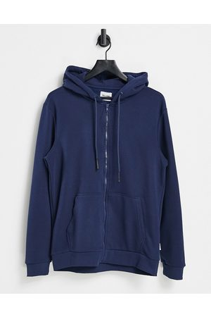 Only & Sons Zip through hoodie in blue-Blues