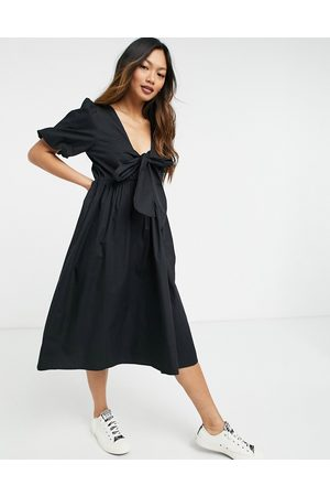 Y.A.S Bow back midi smock dress in