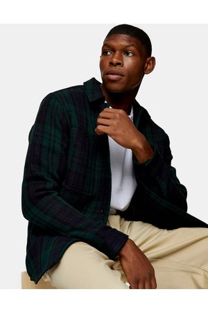 Topman Overshirt in navy and plaid