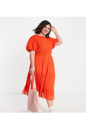Simply Be Shirred midi dress in
