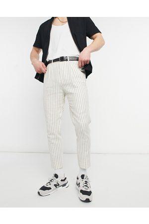 ASOS Tapered pinstripe linen smart pants in off