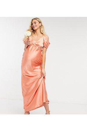 HOPE & IVY Bridesmaid cold shoulder satin slip midaxi dress in peach