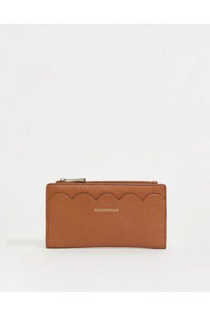 Paul Costelloe Leather scallop wallet in tan
