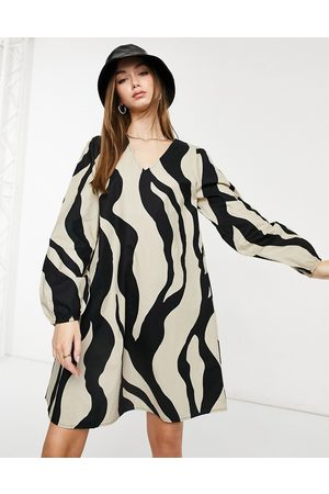 VILA V neck mini dress in bold zebra print-Multi