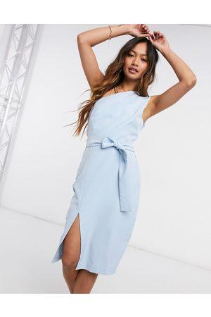 Vesper One shoulder body-conscious dress with side slit in light blue-Blues
