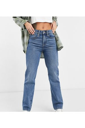 COLLUSION X000 Unisex 90s straight leg jeans in mid wash blue-Blues