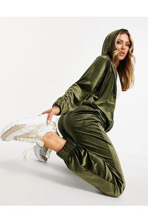 Moda Minx Velour oversized longline hoodie and wide leg sweatpants set in khaki
