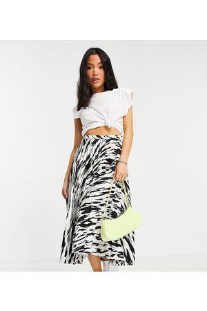 ASOS ASOS DESIGN Petite satin pleated midi skirt in mono zebra print-Multi