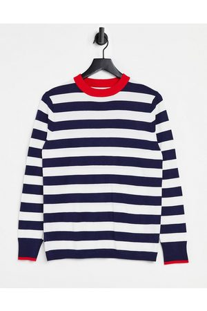 Gianni Feraud Crew neck sweater in blue stripe with contrast red collar-Multi