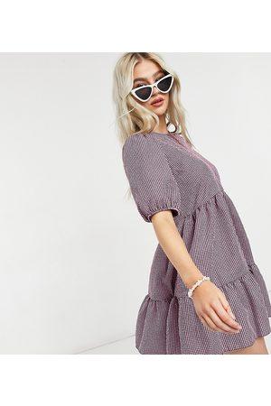 New Look 3/4 sleeve gingham mini smock dress in