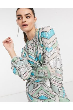 ASOS Aztec-style multi-colored embellished long sleeve top two-piece-Blues