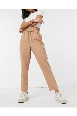 River Island Paper-bag waist sweatpants in beige-Blues