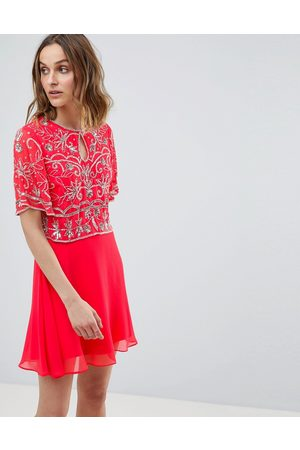 Frock and Frill Embellished Top 2 In 1 Skater Dress