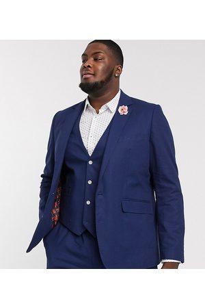 Gianni Feraud Men Blazers - Plus Wedding linen slim fit suit jacket-Navy