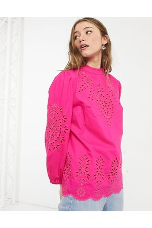 J.Crew High neck puff sleeve embroidered blouse in hot