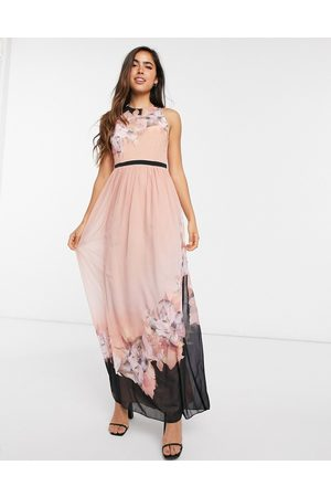 Little Mistress Printed maxi dress in peach floral