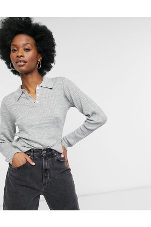 SELECTED Femme polo neck long sleeve top in -Grey