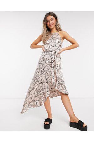 New Look Ruffle hem midi dress in polka dot