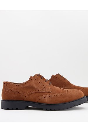 H by Hudson Rivington chunky brogues in tan suede