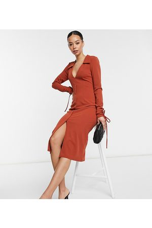 ASOS ASOS DESIGN Tall shirt plunge midi dress with cuff ties in rust