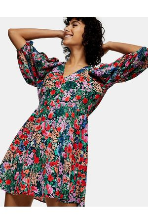 Topshop Puff sleeve v-neck mini dress in bright florals-Multi