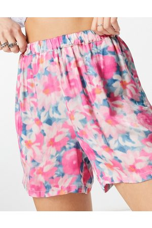 Ghost Lara satin shorts in smudge floral print - part of a set-Multi