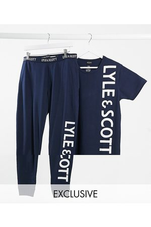 Lyle & Scott Logo top and lounge pant set in navy