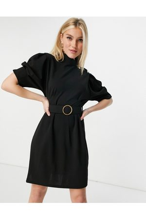 Lipsy London Belted pencil dress with button shoulder detail in