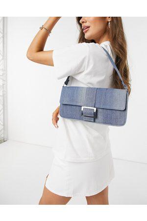 Monki Reya denim shoulder bag in blue-Blues