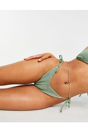 ASOS Mix & match crinkle V-front tie side bikini bottoms in khaki