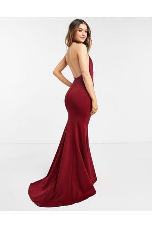 True Violet Black Label halterneck maxi gown with fishtail hem in wine