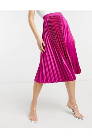 Outrageous Fortune Pleated maxi skirt in fuschia print