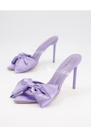 SIMMI Shoes Simmi London Ezlili heeled sandals with oversized bow in lilac satin