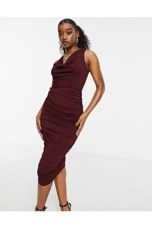 Ax Paris Cowl neck midi dress in plum