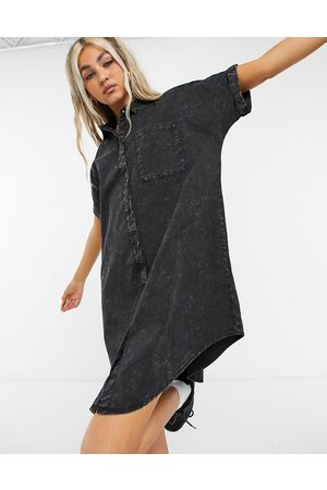 Noisy May Denim shirt dress in washed black-Grey