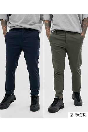 ASOS 2-pack skinny chinos in khaki and navy - Save-Multi