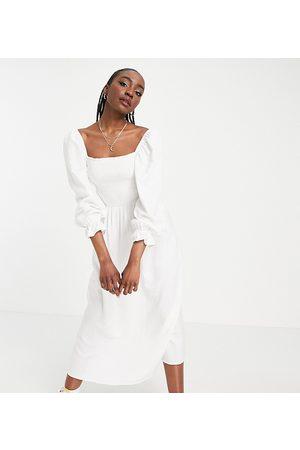 New Look Shirred textured midi dress in