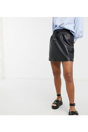 Topshop Drawstring faux leather mini skirt in